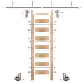 Rolling Hook 8-Foot Red Oak Ladder Kit with 8-Foot Rail and Vertical Brackets, Satin Nickel