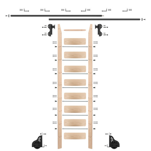 View a Larger Image of Rolling Hook 9-Foot Maple Ladder Kit with 12-Foot Rail and Horizontal Brackets, Black