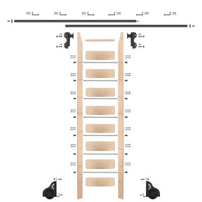 Rolling Hook 9-Foot Maple Ladder Kit with 12-Foot Rail and Horizontal Brackets, Black