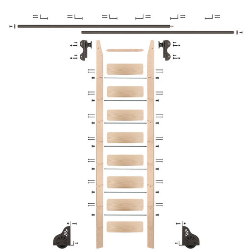 View a Larger Image of Rolling Hook 9-Foot Maple Ladder Kit with 12-Foot Rail and Horizontal Brackets, Bronze