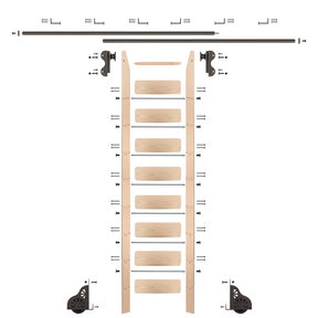 Rolling Hook 9-Foot Maple Ladder Kit with 12-Foot Rail and Horizontal Brackets, Bronze