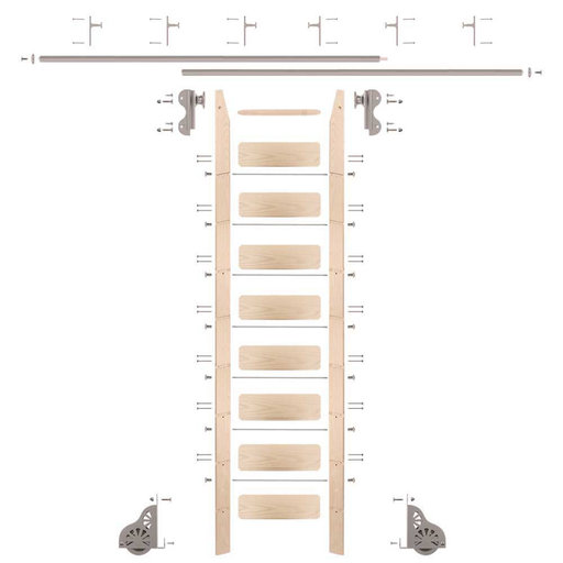View a Larger Image of Rolling Hook 9-Foot Maple Ladder Kit with 12-Foot Rail and Vertical Brackets, Satin Nickel