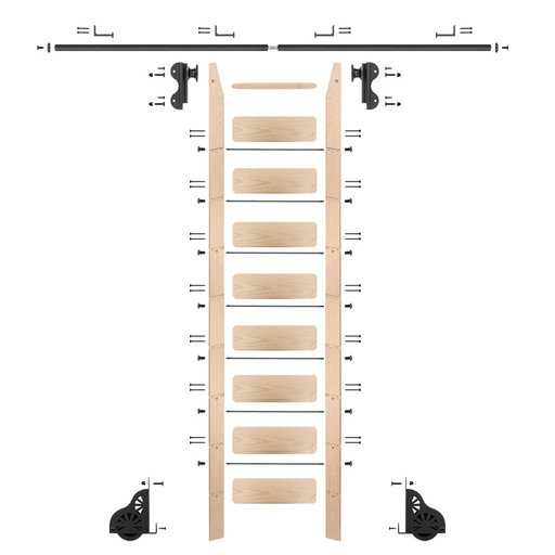 View a Larger Image of Rolling Hook 9-Foot Maple Ladder Kit with 8-Foot Rail and Horizontal Brackets, Black