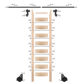 Rolling Hook 9-Foot Maple Ladder Kit with 8-Foot Rail and Horizontal Brackets, Black