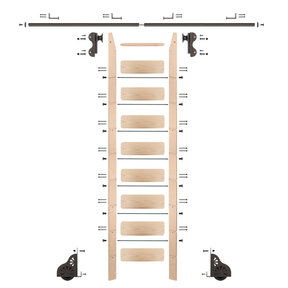 Rolling Hook 9-Foot Maple Ladder Kit with 8-Foot Rail and Horizontal Brackets, Bronze