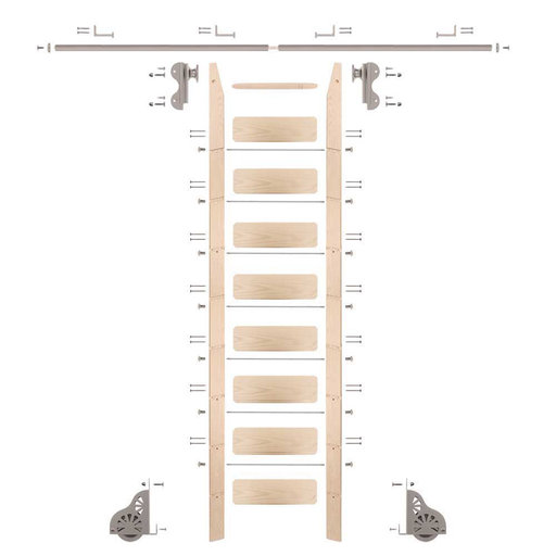 View a Larger Image of Rolling Hook 9-Foot Maple Ladder Kit with 8-Foot Rail and Horizontal Brackets, Satin Nickel