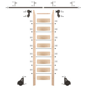 Rolling Hook 9-Foot Maple Ladder Kit with 8-Foot Rail and Vertical Brackets, Bronze