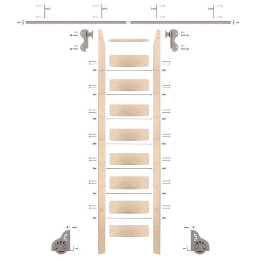 View a Larger Image of Rolling Hook 9-Foot Maple Ladder Kit with 8-Foot Rail and Vertical Brackets, Satin Nickel