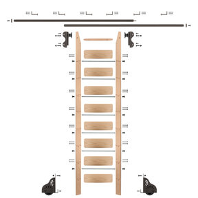 Rolling Hook 9-Foot Red Oak Ladder Kit with 12-Foot Rail and Horizontal Brackets, Bronze