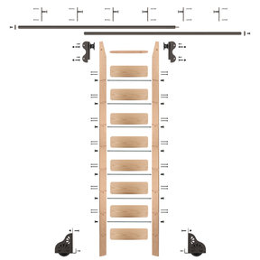 Rolling Hook 9-Foot Red Oak Ladder Kit with 12-Foot Rail and Vertical Brackets, Bronze