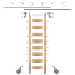 Rolling Hook 9-Foot Red Oak Ladder Kit with 12-Foot Rail and Vertical Brackets, Satin Nickel