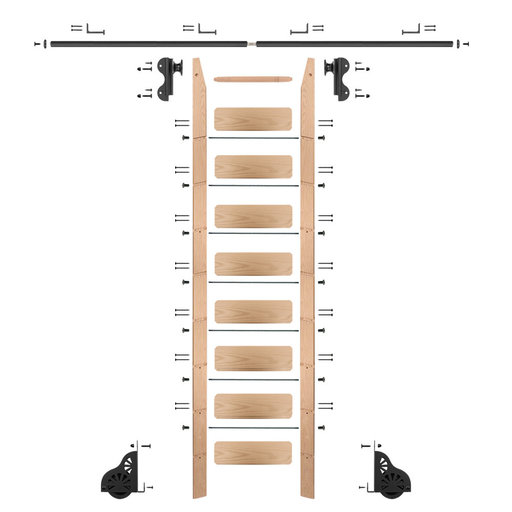 View a Larger Image of Rolling Hook 9-Foot Red Oak Ladder Kit with 8-Foot Rail and Horizontal Brackets, Black