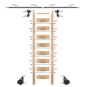 Rolling Hook 9-Foot Red Oak Ladder Kit with 8-Foot Rail and Horizontal Brackets, Bronze