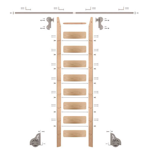 View a Larger Image of Rolling Hook 9-Foot Red Oak Ladder Kit with 8-Foot Rail and Horizontal Brackets, Satin Nickel