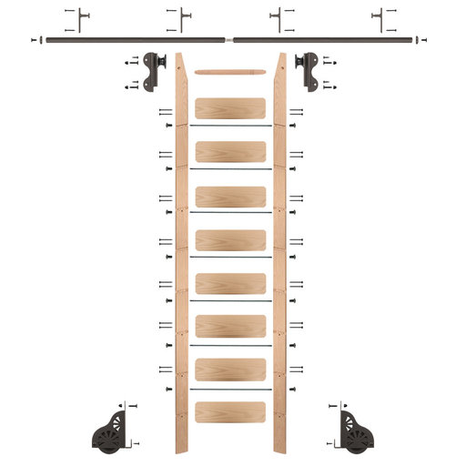 View a Larger Image of Rolling Hook 9-Foot Red Oak Ladder Kit with 8-Foot Rail and Vertical Brackets, Bronze