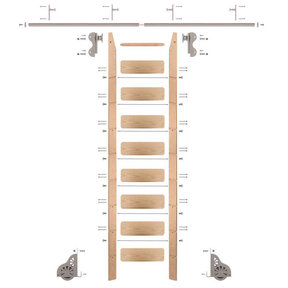 Rolling Hook 9-Foot Red Oak Ladder Kit with 8-Foot Rail and Vertical Brackets, Satin Nickel