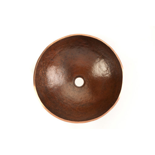 View a Larger Image of Round Hand Forged Old World Copper Vessel Sink