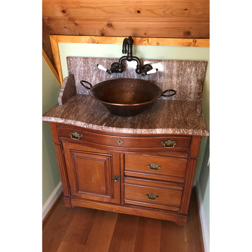 View a Larger Image of Round Hand Forged Old World Miners Pan Copper Vessel Sink