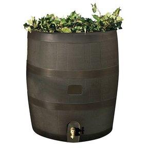 Round Rain Barrel with Planter, 35 gallon, Mud