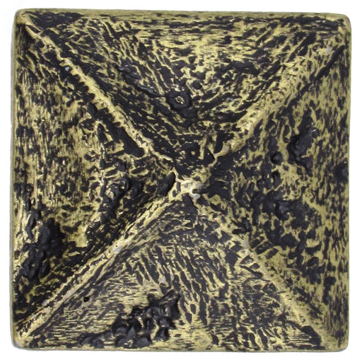 View a Larger Image of Rustic Pyramid Knob Brass Oxide