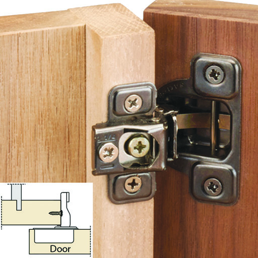 """View a Larger Image of 106° Excen-Three Self Close 5/8"""" Overlay Face Frame Hinge Nickel Finish Pair"""