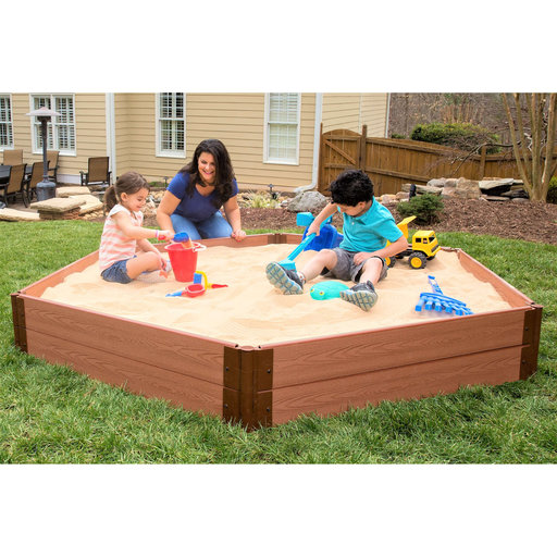"""View a Larger Image of Classic Sienna 7' x 8' x 11"""" Composite Hexagon Sandbox Kit - 1"""" profile"""