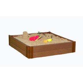 "Classic Sienna 4' x 4' x 11"" Composite Square Sandbox Kit - 1"" profile"