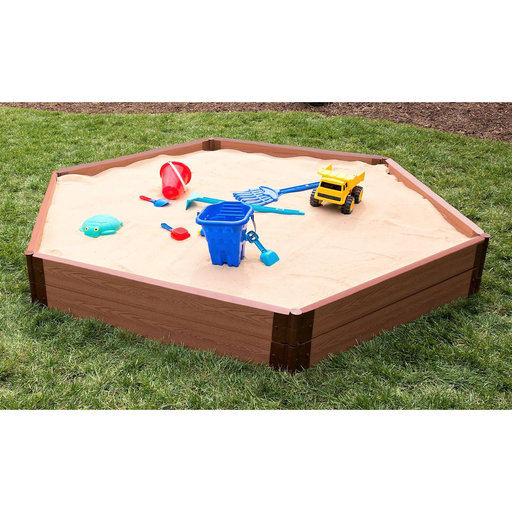 """View a Larger Image of Classic Sienna 7' x 8' x 11"""" Composite Hexagon Sandbox Kit - 2"""" profile"""