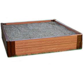 "Classic Sienna 4' x 4' x 11"" Composite Square Sandbox Kit - 2"" profile"