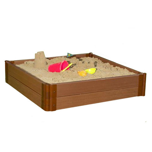 """View a Larger Image of Classic Sienna 4' x 4' x 11"""" Composite Square Sandbox Kit - 2"""" profile"""