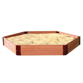 """Classic Sienna 7' x  8' x 11"""" Composite Hexagon Sandbox Kit with Collapsible Cover - 1"""" profile"""