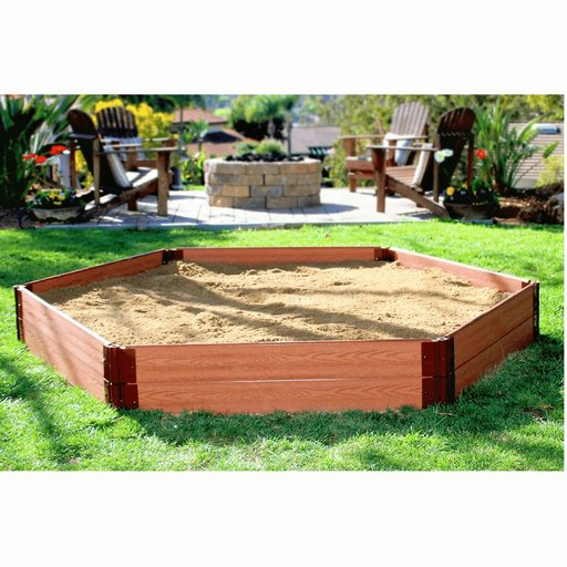 """View a Larger Image of Classic Sienna 7' x  8' x 11"""" Composite Hexagon Sandbox Kit with Collapsible Cover - 1"""" profile"""