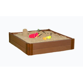 """Classic Sienna 4' x 4' x 11"""" Composite Square Sandbox Kit with Collapsible over - 1"""" profile"""