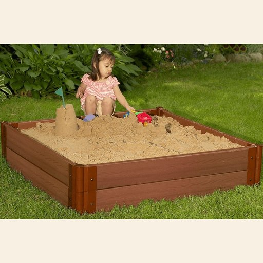 """View a Larger Image of Classic Sienna 4' x 4' x 11"""" Composite Square Sandbox Kit with Collapsible over - 1"""" profile"""
