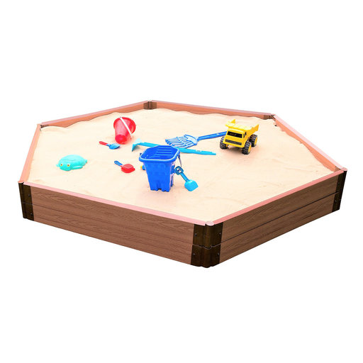 """View a Larger Image of Classic Sienna 7' x  8' x 11 """" Composite Hexagon Sandbox Kit with Collapsible Cover - 2"""" profile"""