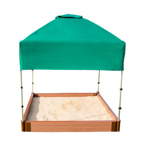 """Classic Sienna 4' x 4' x  5.5"""" Composite Square Sandbox Kit with Telescoping Canopy/Cover - 2"""" profile"""