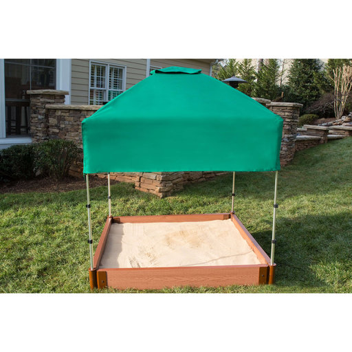 """View a Larger Image of Classic Sienna 4' x 4' x  5.5"""" Composite Square Sandbox Kit with Telescoping Canopy/Cover - 2"""" profile"""