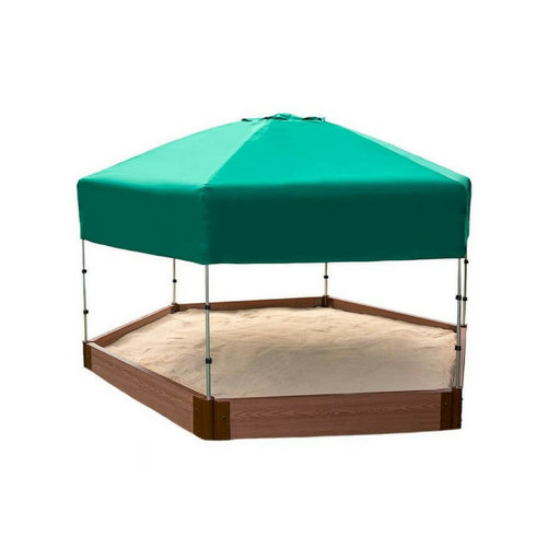 """View a Larger Image of Classic Sienna 7' x  8' x 5.5 """" Composite Hexagon Sandbox Kit with Telescoping Canopy/Cover - 2"""" profile"""