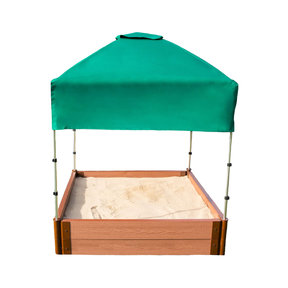 """Classic Sienna 4' x 4' x 11"""" Composite Square Sandbox Kit with Telescoping Canopy/Cover - 2"""" profile"""