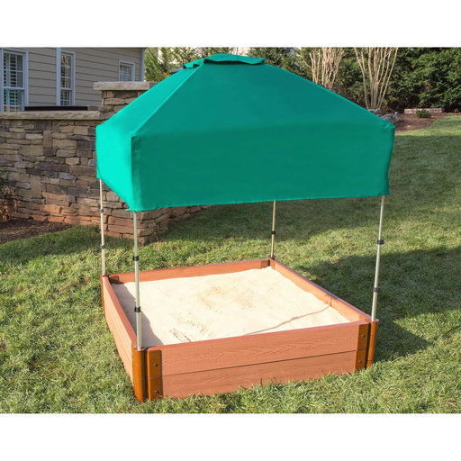 """View a Larger Image of Classic Sienna 4' x 4' x 11"""" Composite Square Sandbox Kit with Telescoping Canopy/Cover - 2"""" profile"""
