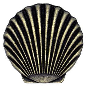 Scallop Seashell Knob, Brass Oxide