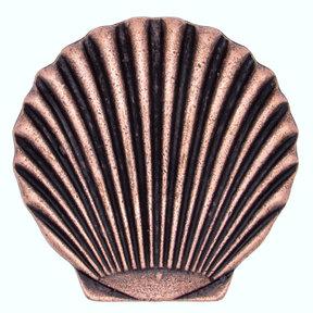 Scallop Seashell Knob, Copper Oxide