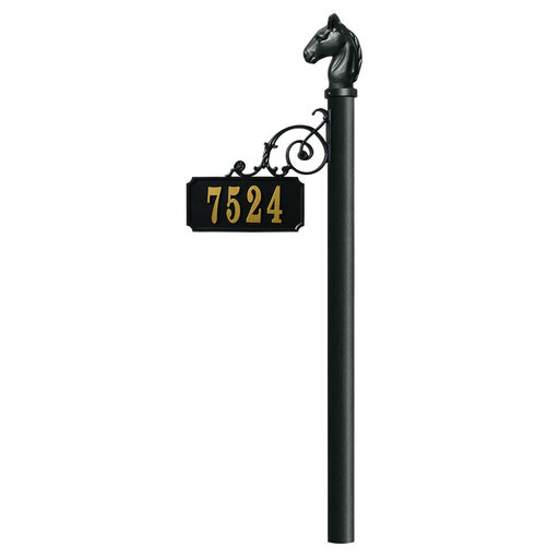 View a Larger Image of Scroll Mount Address Post (NO BASE) with Horsehead finial