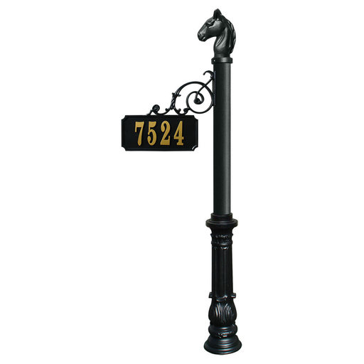 View a Larger Image of Scroll Mount Address Post with decorative Ornate base and Ho