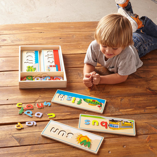 View a Larger Image of See & Spell Learning Toy, Developmental Toys, Wooden Case, Develops Vocabulary and Spelling Skills, 50+ Wooden Pieces