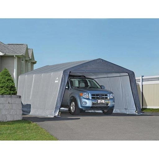 View a Larger Image of Garage-in-a-Box 12' x 20' x 8', Peak Style, Gray