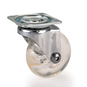 """2"""" Skate Wheel Caster Non-Locking with Rounded Translucent Wheel"""