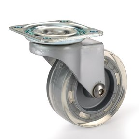 "2-1/2"" Skate Wheel Caster Non-Locking with Flat Translucent Wheel"