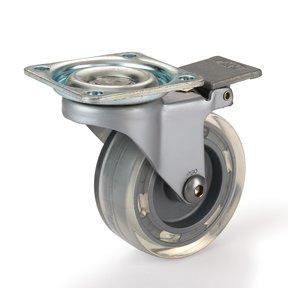 "2-1/2"" Skate Wheel Caster Locking with Flat Translucent Wheel"