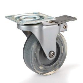 "3"" Skate Wheel Caster Locking with Flat Translucent Wheel"